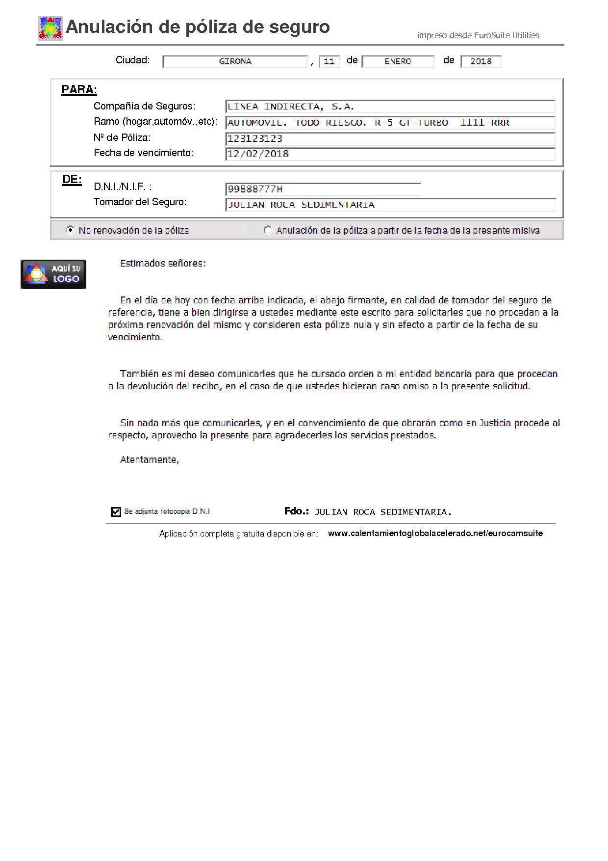 APLICACION ANULAR POLIZA SEGURO - Web oficial de EUROSUITE UTILITIES