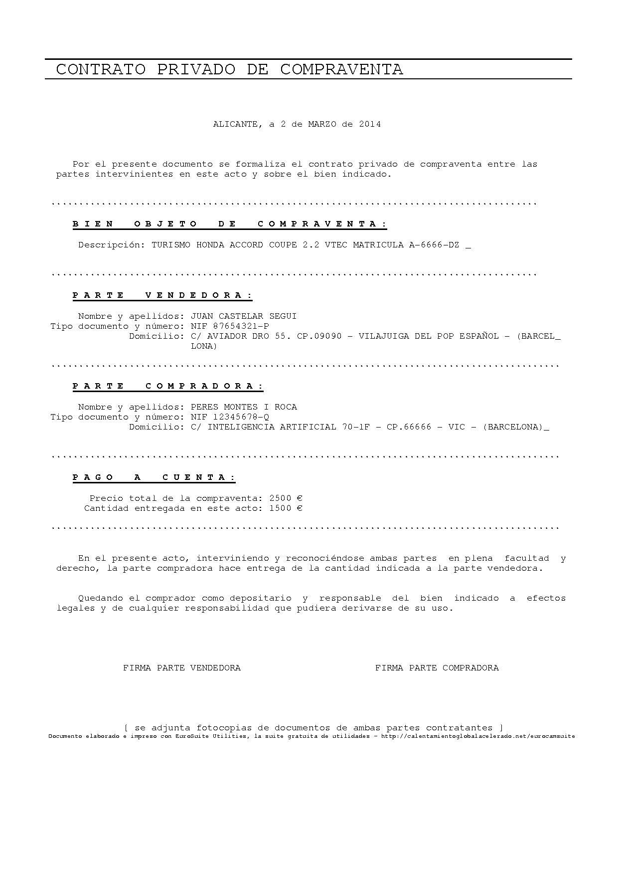 Plantilla Para Rellenar Contrato Compraventa Web Oficial