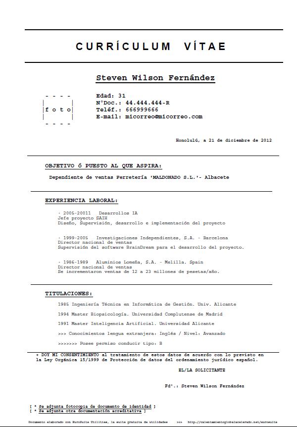 Formulario Modelo Para Curriculum Vitae Modelo Basico Sencillo De